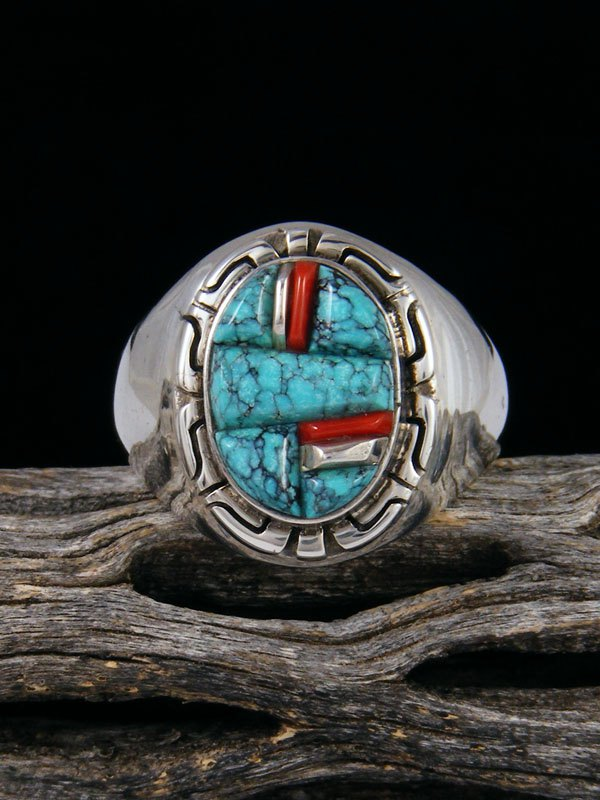Coral and Turquoise Cobblestone Inlay Ring, Size 12