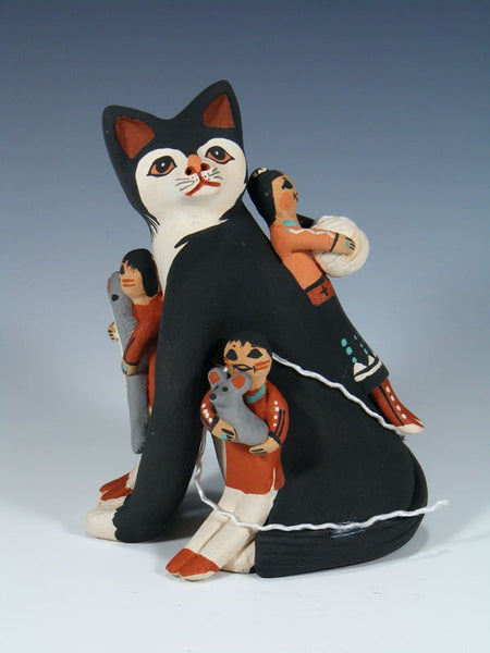 Jemez Pueblo Pottery Cat Storyteller Figurine
