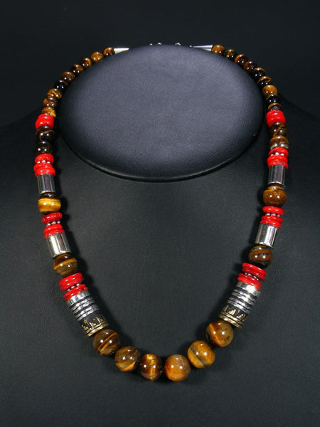 Tiger Eye and Coral Single Strand Bead Necklace