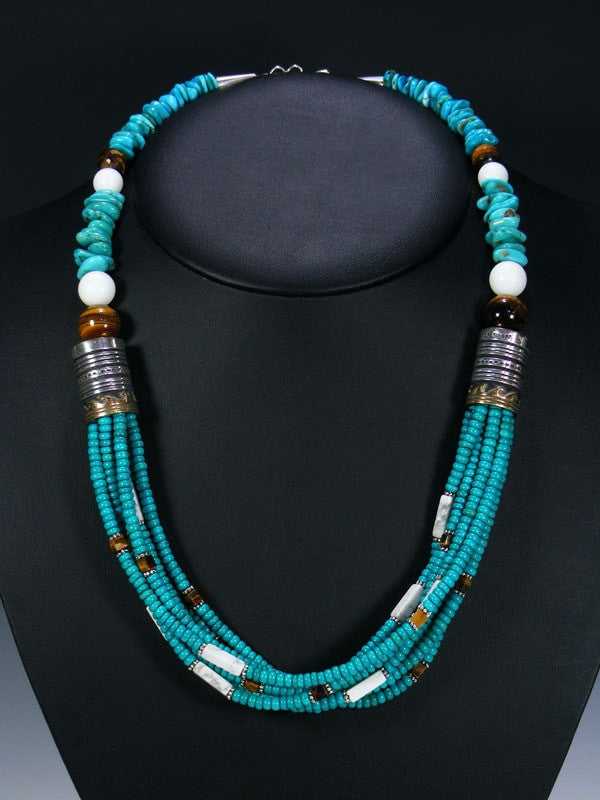 Turquoise Multistrand Necklace by Tommy Singer - PuebloDirect.com - 1