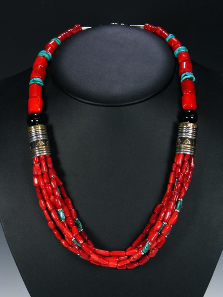 Coral and Turquoise Multi Strand Bead Necklace