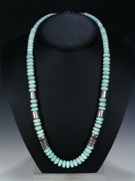 Blue Agate Single Strand Necklace