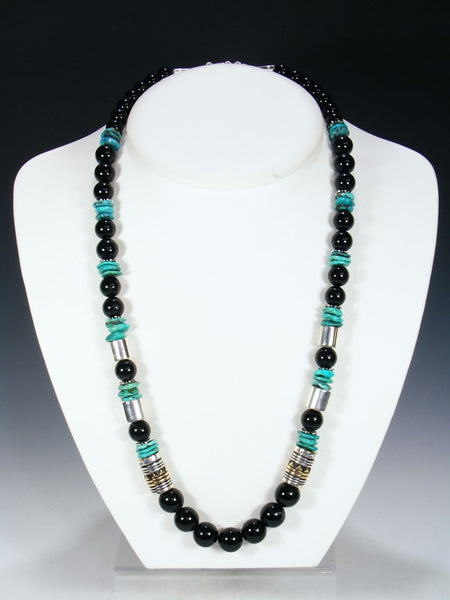 Black Onyx and Turquoise Single Strand Bead Necklace