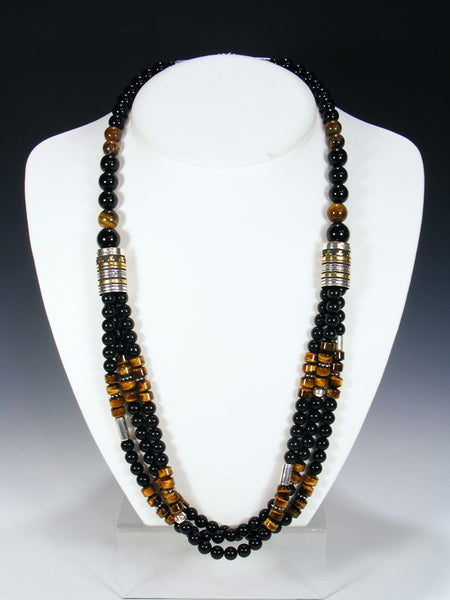 Black Onyx and Tiger Eye Multistrand Necklace