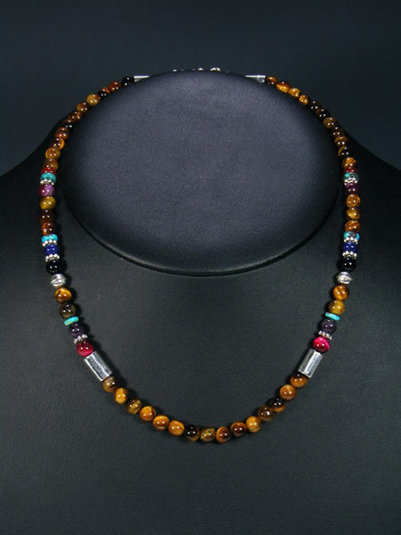 Tiger Eye and Turquoise Single Strand Choker Bead Necklace