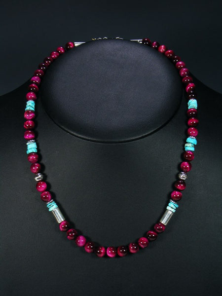 Pink Tiger Eye and Turquoise Single Strand Necklace