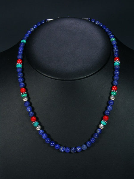 Lapis and Turquoise Single Strand Choker Bead Necklace