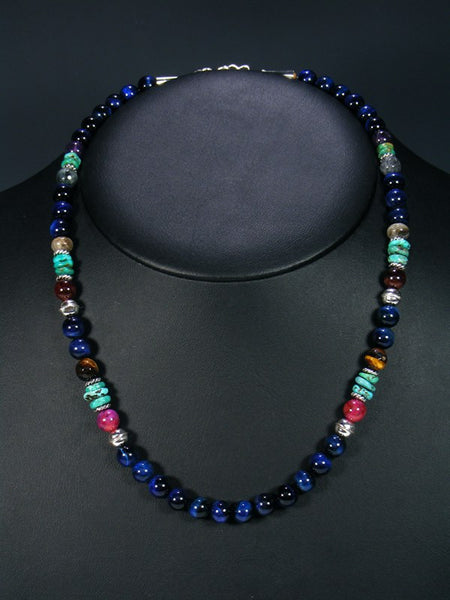 Blue Tiger Eye and Turquoise Single Strand Necklace