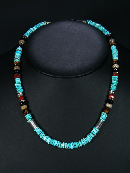 Tiger Eye and Turquoise Single Strand Necklace