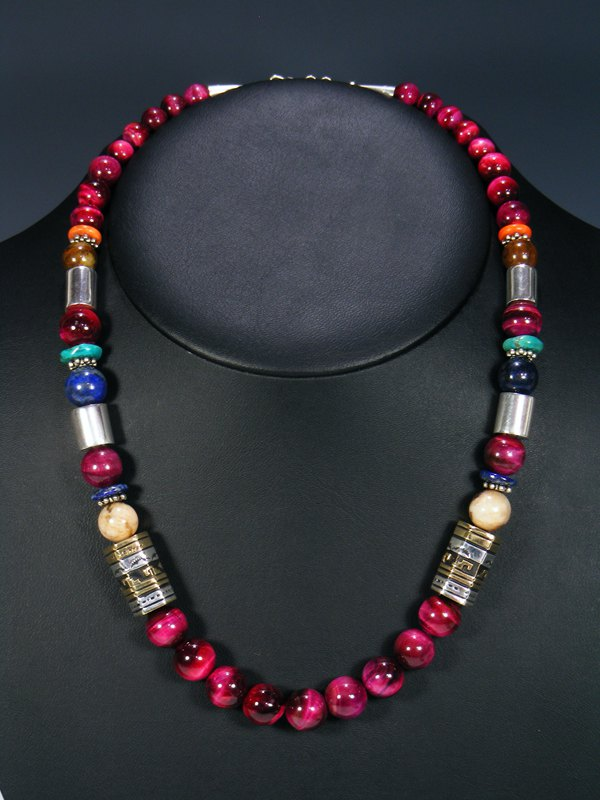 "Dyed Tiger Eye 21"" Single Strand Bead Necklace"