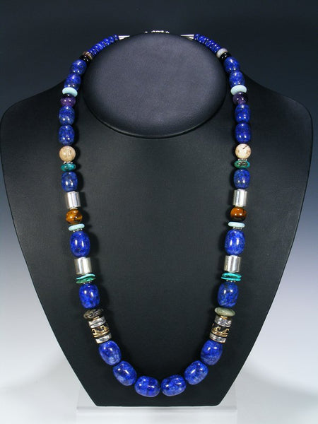 "Turquoise and Lapis 28"" Single Strand Necklace"
