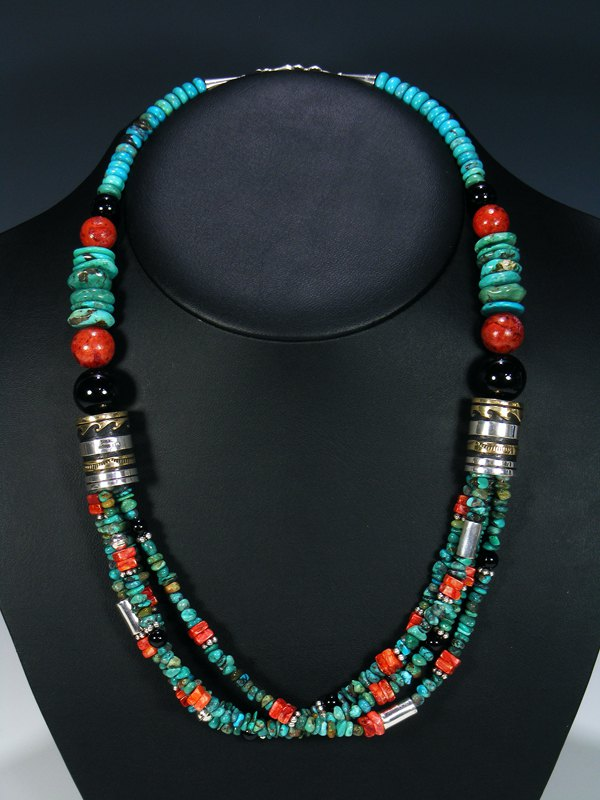 Turquoise and Apple Coral Multi Strand Bead Necklace