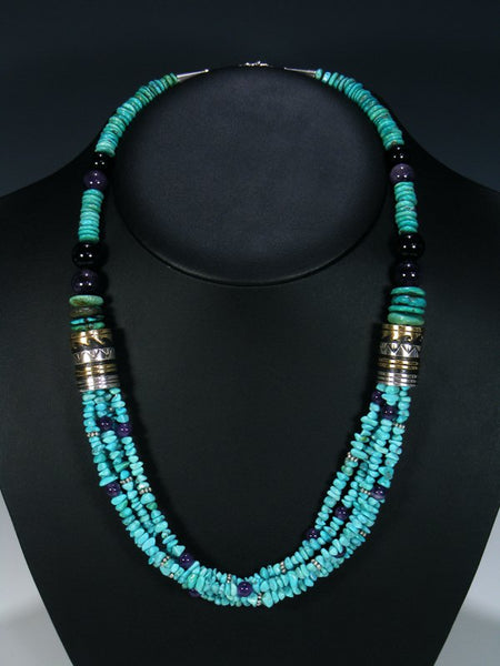 Turquoise and Black Onyx Multi Strand Bead Necklace