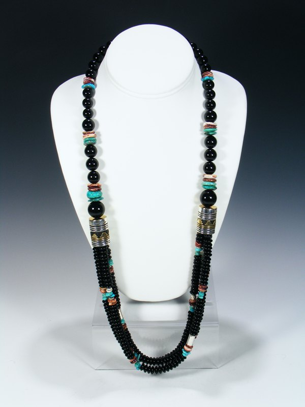 "Onyx Multi Strand 30"" Beaded Necklace"
