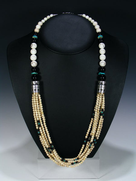 "White Marble Multi-Strand 30"" Necklace"