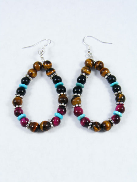 Onyx and Tiger Eye Dangle Earrings