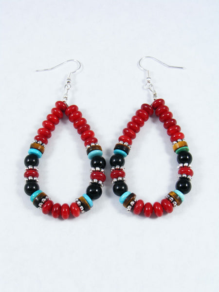 Coral and Onyx Dangle Earrings