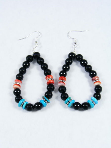 Onyx and Spiny Oyster Dangle Earrings