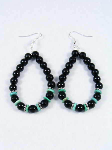 Onyx and Turquoise Dangle Earrings