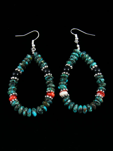 Turquoise and Spiny Oyster Dangle Earrings
