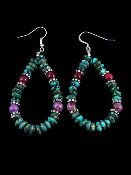 Turquoise and Dyed Jasper Dangle Earrings