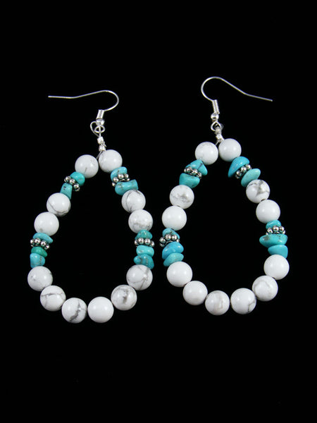 White Buffalo and Turquoise Dangle Earrings