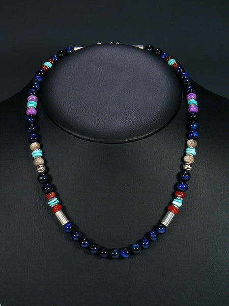 "Blue Tiger Eye and Turquoise 20"" Single Strand Choker Necklace"