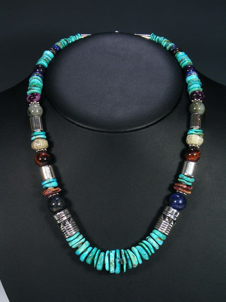 "Blue Turquoise 21"" Single Strand Bead Necklace"