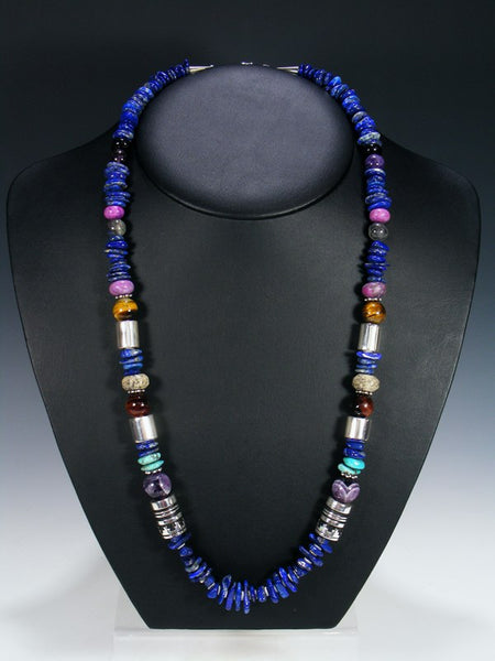 "Lapis and Tiger Eye 28"" Single Strand Necklace"