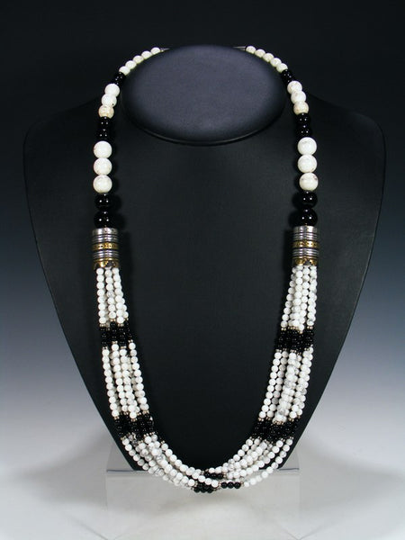 "Black Onyx and White Marble Multi-Strand 30"" Necklace"