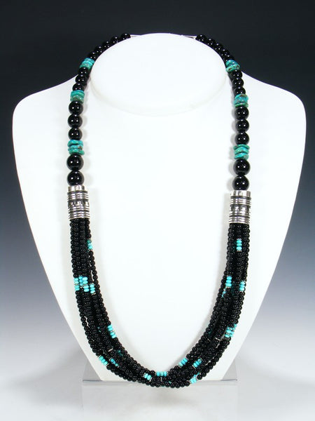 "Black Onyx and Turquoise Multi-Strand 30"" Necklace"