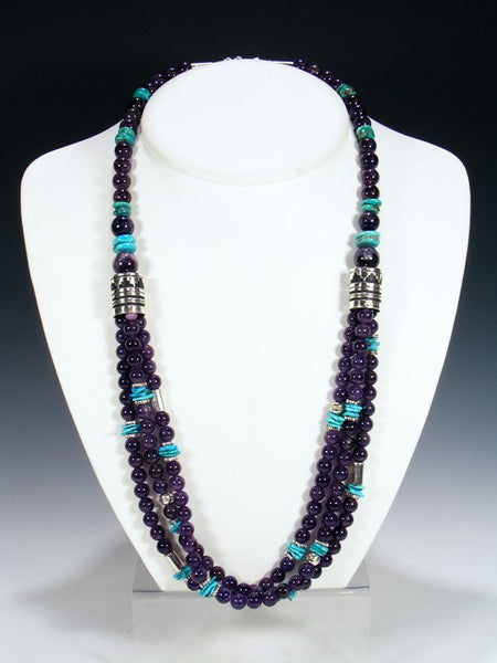 "Purple Amethyst and Turquoise Multi Strand 30"" Beaded Necklace"
