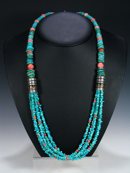 "Turquoise and Rhodochrosite Multi-Strand 30"" Beaded Necklace"