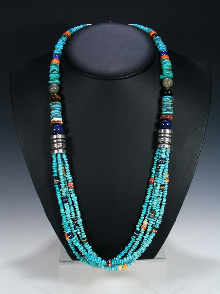 "Turquoise Multi-Strand 30"" Beaded Necklace"