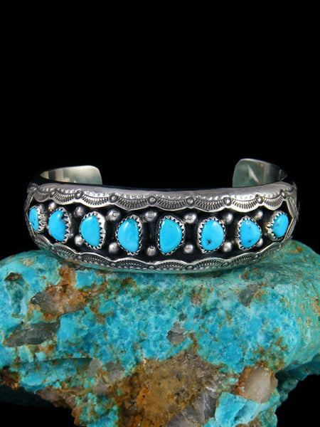 Navajo Turquoise Sterling Silver Shadowbox Cuff Bracelet