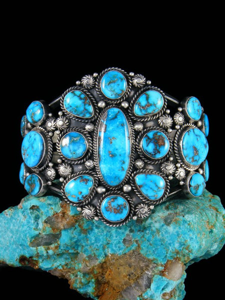 Native American Sterling Silver Sonoran Rose Turquoise Cuff Bracelet