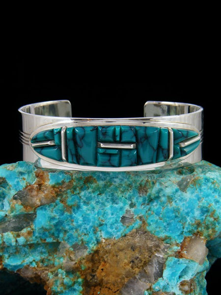 Sterling Silver Natural Cloud Mountain Turquoise Cornrow Inlay Bracelet