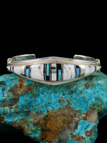 Native American Onyx and White Buffalo Inlay Cuff Bracelet