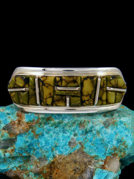 Navajo Dragon Skin Turquoise Sterling Silver Cobblestone Inlay Cuff Bracelet