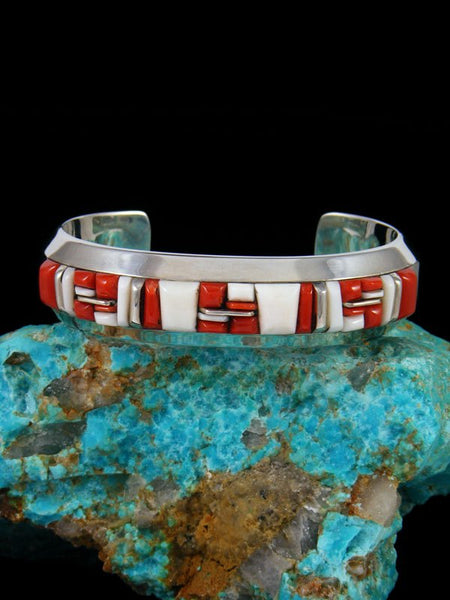 Navajo Coral and White Clam Shell Sterling Silver Cobblestone Inlay Cuff Bracelet