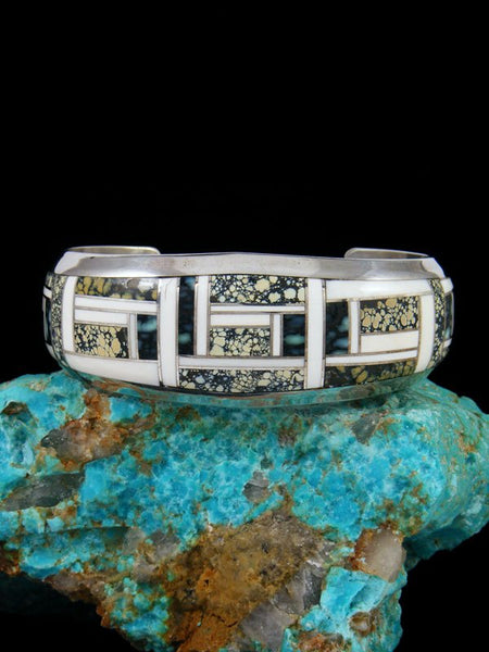 Navajo Variscite and White Clam Shell Sterling Silver Inlay Cuff Bracelet