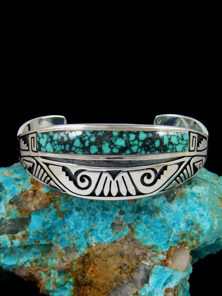 Native American Sterling Silver Turquoise Inlay Overlay Cuff Bracelet