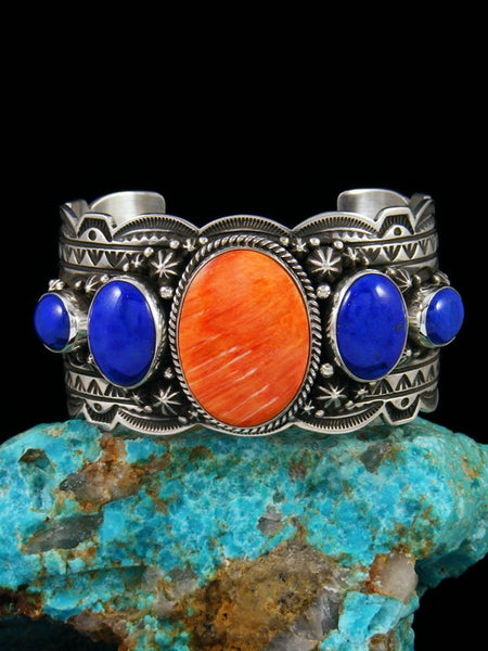 Native American Sterling Silver Spiny Oyster and Lapis Cuff Bracelet