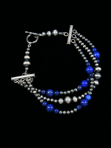 Native American Indian Jewelry Lapis and Silver Bead Bracelet