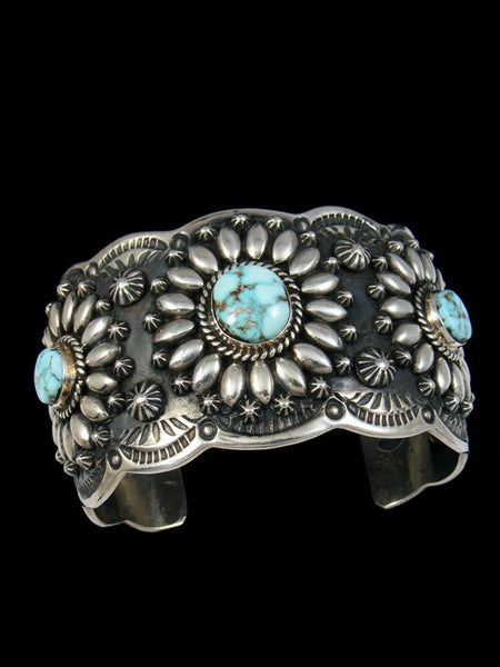 Native American Indian Sterling Silver Dry Creek Turquoise Bracelet