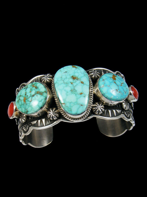 Native American Indian Jewelry Sterling Silver Kingman Turquoise and Coral Bracelet