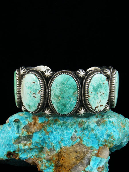 Heavy Sterling Silver Native American Turquoise Bracelet