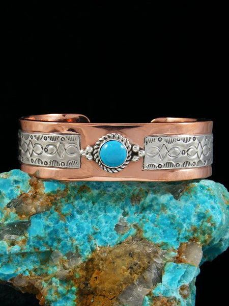 Native American Copper and Turquoise Cuff Bracelet
