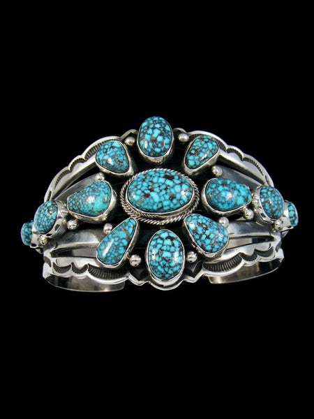 Native American Sterling Silver Turquoise Mountain Cuff Bracelet