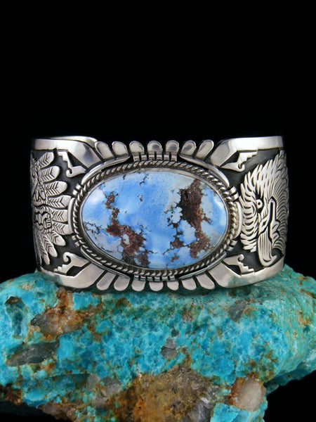 Native American Sterling Silver Golden Hill Turquoise Eagle Overlay Bracelet